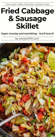 Sausage Skillet Recipe, Smoked Sausage Recipes, Sausage Casserole, Kielbasa Sausage, Pork Recipes, Cooking Recipes, Healthy Recipes, Fried Cabbage Recipes, Skillet Cabbage Recipe