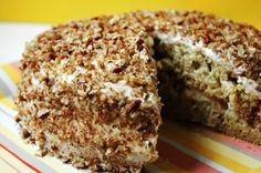 Banana Cake With Pecans And Cream Cheese Frosting   Looks yummy to me....