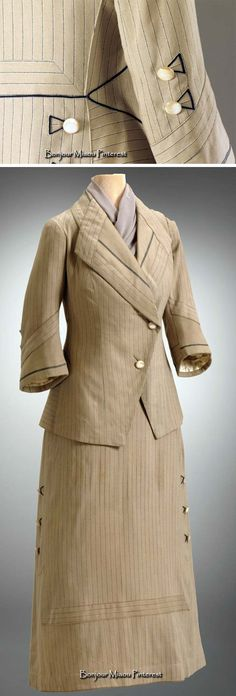 Suit, Pollak & Bruder, Vienna, ca. 1913–18. Tan wool with woven blue pinstripe highlighted by hairline cream thread. Slightly double-breasted jacket trimmed at cuffs & lapels with bands of solid wool & blue line stitched embroidery. Photo: Two Cat Digital. Hillwood Estate