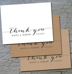 Wedding Thank You (folded or flat) Cards Notes Postcards, White or Cream or…