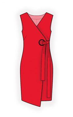 Платье С Запахом - Выкройка #4665 Выкройки на Ваш размер от компании Lekala - скачать онлайн бесплатно Облегающая модель, Вытачки, Асимметричная модель, Запах, V-образная горловина, Без воротника, No sleeves, Above knee, Straight skirt, No pockets