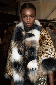 Leo print glamour #backstage at Dennis Basso Fall 2015 #nyfw