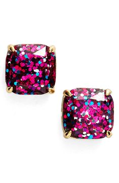 Plan on wearing these pink glitter Kate Spade earrings with the perfect party dress to create a dazzling look.