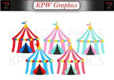 Circus Carnival Big Top Tents Set of 5 in various colours in a PNG format. Personal & Small Commercial use Top Tents, Big Top, 2 Set, Clipart Images, Carnival, Commercial, Clip Art, Colours, Invitations