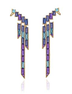 Tomasz Donocik rose gold cuff earrings set with amethyst, tanzanite, blue sapphire, iolite and blue topaz from the new Electric Night collection.