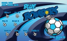 Bombers-Blue-41541 digitally printed vinyl soccer sports team banner. Made in the USA and shipped fast by BannersUSA. www.bannersusa.com