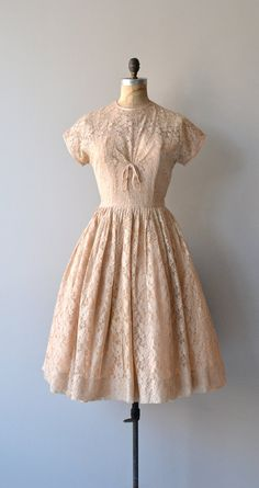 Powder Room dress vintage 1950s dress blush lace by DearGolden