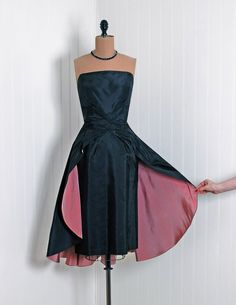 *1950s Emma DombEarly California Designer-Couture Label  *Exquisite Midnight-Black and Pastel-Pink Sculpted Silk-Taffeta  *Seductive Low-Cut