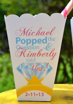 Personalized Engagement Party Popcorn Box Favors. $40.50, via Etsy.