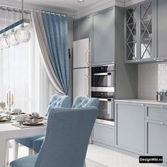 gray blue teal turquoise kitchen ideas small kitchen apartment condo ideas shoproom ideas white and modern contemporary ikea Home Room Design, Home Interior Design, Kitchen Interior, Room Interior, Neoclassical Interior Design, Small Apartment Kitchen, Kitchen Cabinet Colors, Cuisines Design, Küchen Design