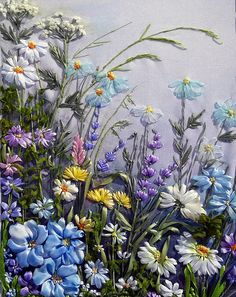 Summer rain Meadow Flowers3d Silk Ribbon Embroidery Floral