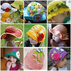 DIY Crochet Summer Sun Hat Free Pattern for baby and children. Crochet Girls, Crochet Woman, Cute Crochet, Crochet Hats, Crochet Summer, Sombrero A Crochet, Diy And Crafts Sewing, Animal Hats, Diy Hat