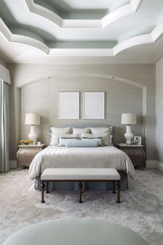 A stunning ceiling is a focal point in this neutral Colorado master suite.