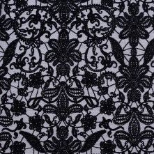 Turkish Domino Black Polyester-Viscose Embroidered Woven
