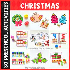 This CHRISTMAS PRESCHOOL LEARNING PACK/MATH & LITERACY is a collection of 30 fun and engaging activities designed for preschoolers, pre-kindergartens, kindergartens or for ages old. The activities included in this file are perfect for Continents Activities, Farm Activities, Counting Activities, Steam Activities, Kindergarten Learning, Math Literacy, Literacy Centers, Fall Preschool, Preschool Christmas