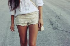pleated shirt and lace/crochet shorts