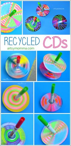 How to make simple Recycled CD Spinning Tops - Artsy Momma Recycled CDs Spinning Tops Craft - Handmade Kids Toys Want great ideas concerning arts and crafts? Head out to our great info! Cd Crafts, Arts And Crafts, Recycled Toys, Recycled Glass, Recycled Crafts For Kids, Recycling Projects For Kids, Cd Art, Summer Crafts, Diy Toys