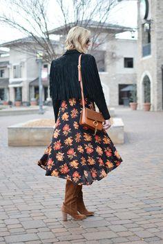 SheIn dark floral midi dress, Dolce Vita over the knee boots, black suede fringe jacket