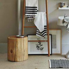 Baumstamm Tisch Badezimmer gestalten Ideen selber bauen