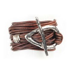 47 inches of multiple thin leather cords with a hammered teardrop toggle closure. Wrap it around your wrist for a chunky layered bracelet, or wear doubled around your neck for a striking statement necklace.