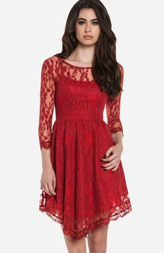 DailyLook: Eyelash Lace Fit and Flare Dress