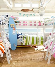 OUToftheBOXcalifornia: surf decor for a baby nursery or child's room: pottery barn kids Like the pure white with bold stripes Surf Decor, Decoration Surf, Room Decorations, Bunk Rooms, Bunk Beds, Bedrooms, Deco Kids, Beach Room, Surf Room