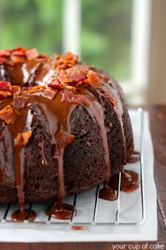 Chocolate Cake: 1 box devil's food cake mix 1 box instant chocolate pudding mix 4 eggs 2/3 C. oil 1 C. sour cream 3/4 C. buttermilk or milk ...