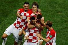 Ivan Perisic of Croatia celebrates with teammates after scoring a goal during the 2018 FIFA World Cup Russia final match between France and Croatia...