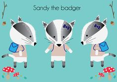 Sandy The Badger. By Fiona Meade on Behance. Baby Badger, Woodland Animals, Dancing, My Design, Behance, Illustrations, Friends, Fictional Characters, Art