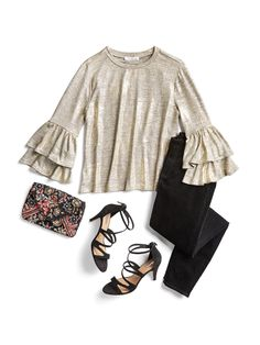 love the metallic and the bell sleeves -  How to Wear Metallics