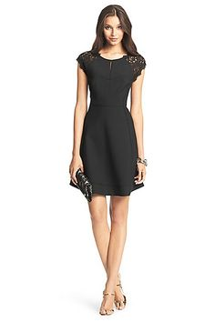 DVF Maddie Lace Detail Dress in in Black