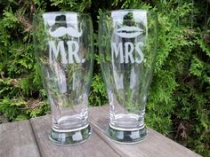 Mustache and Mrs.These are quality hand etched glass perfect for any occasion. Wecustom make each order. All glasses are sandblasted by hand. Glass Etching, Etched Glass, Mustache, Lips, Glasses, Beer, Discount Bedding, Coupon Binder, Discount Dresses