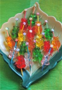 drunken gummy bears (made with vodka) - have to do this for our next New Years Eve block party.  :)