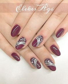 Beautiful Nail Designs To Finish Your Wardrobe – Your Beautiful Nails Sliver Nails, Burgundy Nails, Red Nails, Hair And Nails, Gold Nail, White Nail, White Glitter, Nail Nail, White Gold