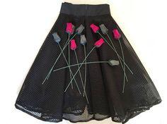 Full skirt in mesh fabric/ Black High Waisted Skirt/ by VenereMana