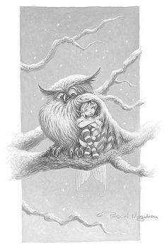 Elf and Owl / Gufo ed Elfa - art by Pascal Moguerou Art And Illustration, Illustrations, Art Fantaisiste, Owl Art, Fantasy Kunst, Fantasy Art, Magical Creatures, Fantasy Creatures, Elfen Fantasy