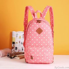 Sweet Lovely Fresh Pig nose Pink Surface White Polka Dot School Bag College Backpack only $24.99 in ByGoods.com!