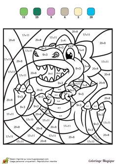 coloriage magique additions tyranosaure rex