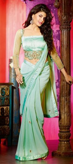 141115, Bollywood sarees, Faux Georgette, Stone, Patch, Zari, Border, Lace, Machine Embroidery, Green Color Family