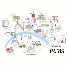 alice tait map of paris print