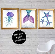 Mermaid Baby Room or kid room decor (Etsy affiliate link) Baby Girl Room Decor, Baby Room Art, Baby Nursery Decor, Nursery Room, Bedroom, Baby Prints, Nursery Prints, Little Mermaid Baby, Mermaid Wall Art