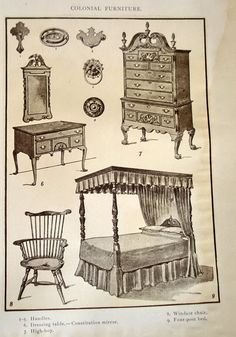 1904 Engraving Print Of Colonial Furniture, Windsor Chair, Poster Bed,  American Furniture Print, Shop Decor, Antique Print, Wall Art