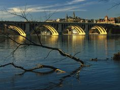 View of Georgetown University beyond key bridge over the Potomac River photo by Raymond Gehman