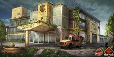 Virus - abandoned hospital by Anna Malkova on ArtStation. Apocalypse World, Apocalypse Art, Apocalypse Survival, Cyberpunk, Apocalypse Landscape, Post Apocalyptic City, D20 Modern, Yuka, Anime City