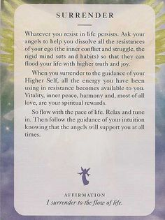 """Today's Guidance Card is """"SURRENDER"""" For more inspirational Cards, Affirmations & Quotes, visit me at www.JacquelineJGarner.com Loads Of Love, Blessings & Hugs~ Jacqueline (((<3)))"""