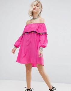 Buy it now. Glamorous Off Shoulder Dress With Pom Pom Trim - Pink. Dress by Glamorous, Lightweight woven fabric, Bardot neck, Off-shoulder design, Pom-pom trim, Bell sleeves, Relaxed fit, Hand wash, 100% Viscose, Our model wears a UK 8/EU 36/US 4 and is 173cm/5'8 tall. ABOUT GLAMOROUS An eclectic mix of vintage influences and contemporary partywear are at the heart of Manchester based label Glamorous, where individual style is the key. The carefully sourced fabrics and prints channel a fun…