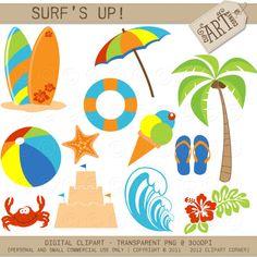 Digital Clipart - Surfs Up / Beach Umbrella / Surfboards (DC-5486) on Etsy, $3.50