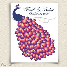 Wedding Guest Book Alternative - Peacock Wedding - The Peawik - A Peachwik Interactive Art Print - 100 guest sign in on Etsy, $38.00