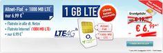 O2 comfort Allnet Flat Sim Only nur 6,99 €  rabattierter Grundgebühr über 24 Monate mit Telefon Allnet-Flat und 1 GB LTE Internet-Flatrate bis 50 Mbit/s, ab 1000 MB Drosselung auf GPRS-Geschwindigkeit im Netz von O2