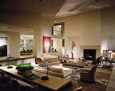 a Mies van der Rohe daybed and Barcelona chairs, 18th century bergères, a Magni Home Collection Glass House coffee table and Bryan Hunt sculpture
